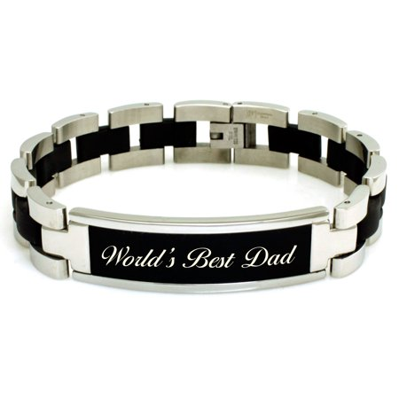 Stainless Steel 8.25 inch World's Best Dad Engraved Black ID