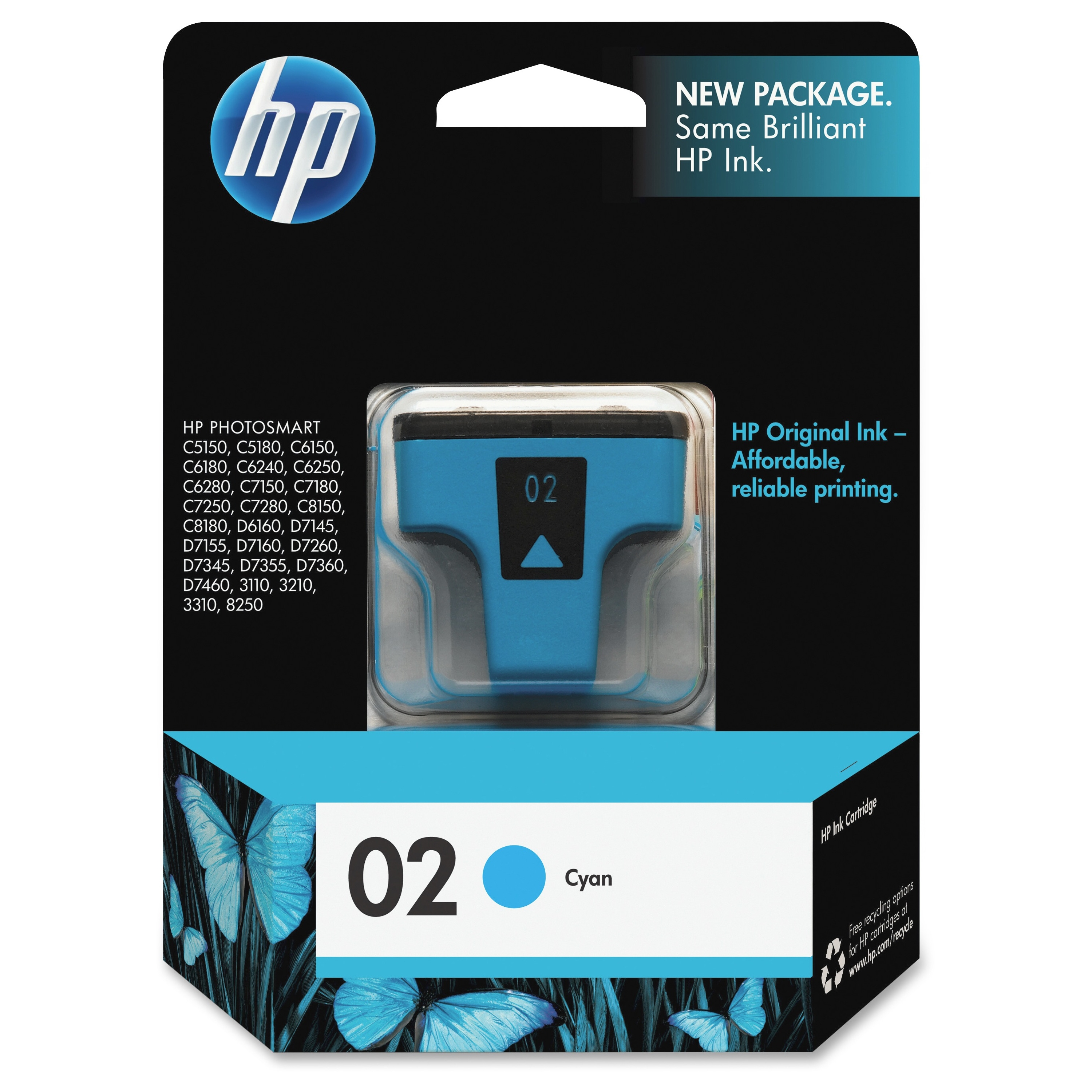 HP 02 Cyan Original Ink Cartridge (C8771WN)