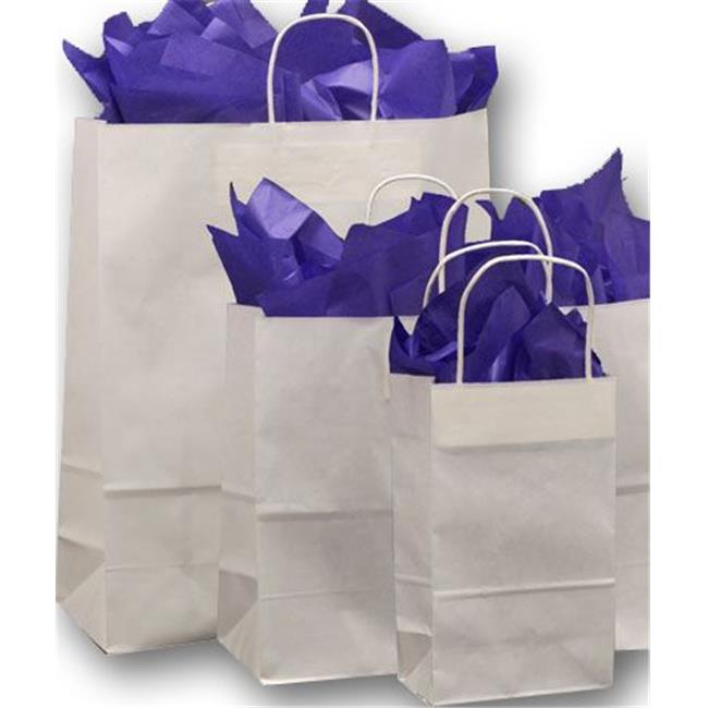 Bags & Bows by Deluxe 15-100-9 White Paper Shoppers Assortment - 3 Assorted Sizes - Case of 100