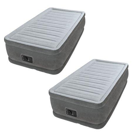 Intex Comfort Dura Beam Elevated Twin Air Mattress w/ Built In Pump (2 Pack) (Built In Pump)