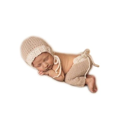 Auberllus infant newborn baby photo props boy girl photo shoot outfits crochet knit cute hat shorts