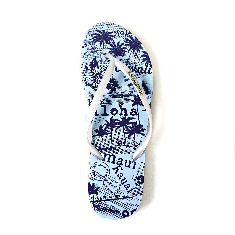 f548076b0 Hawaii Hangover - Hawaiian Print Sunset Beach Palm Hibiscus Wave Women Flip  Flops Sandals in Vintage Blue M - Walmart.com