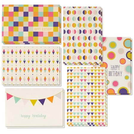 Birthday Cards In Bulk (Birthday Card - 48-Pack Birthday Cards Box Set, 6 Seamless Geometric Designs Birthday Card Bulk, Envelopes Included, 4 x 6)
