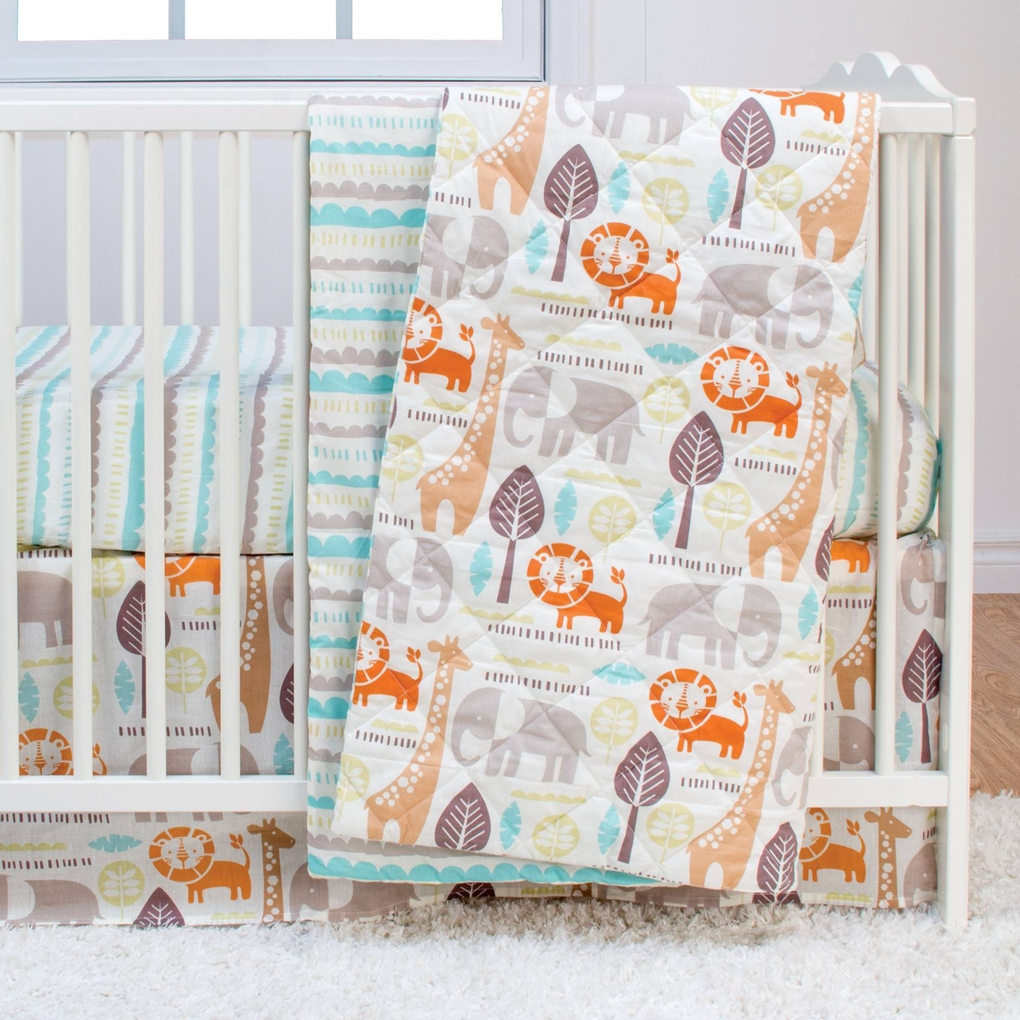 Poppi Living Safari 3-Piece Premium Cotton Crib Bedding Set
