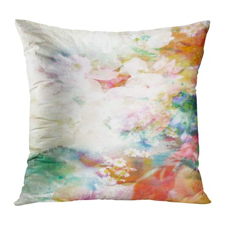 ECCOT Orange Water Abstract Ink Painting Combined Flowers on Watercolor Pastel Liquid Vintage Artistic Blob Pillow Case Pillow Cover 18x18 (Liquid Flowers)