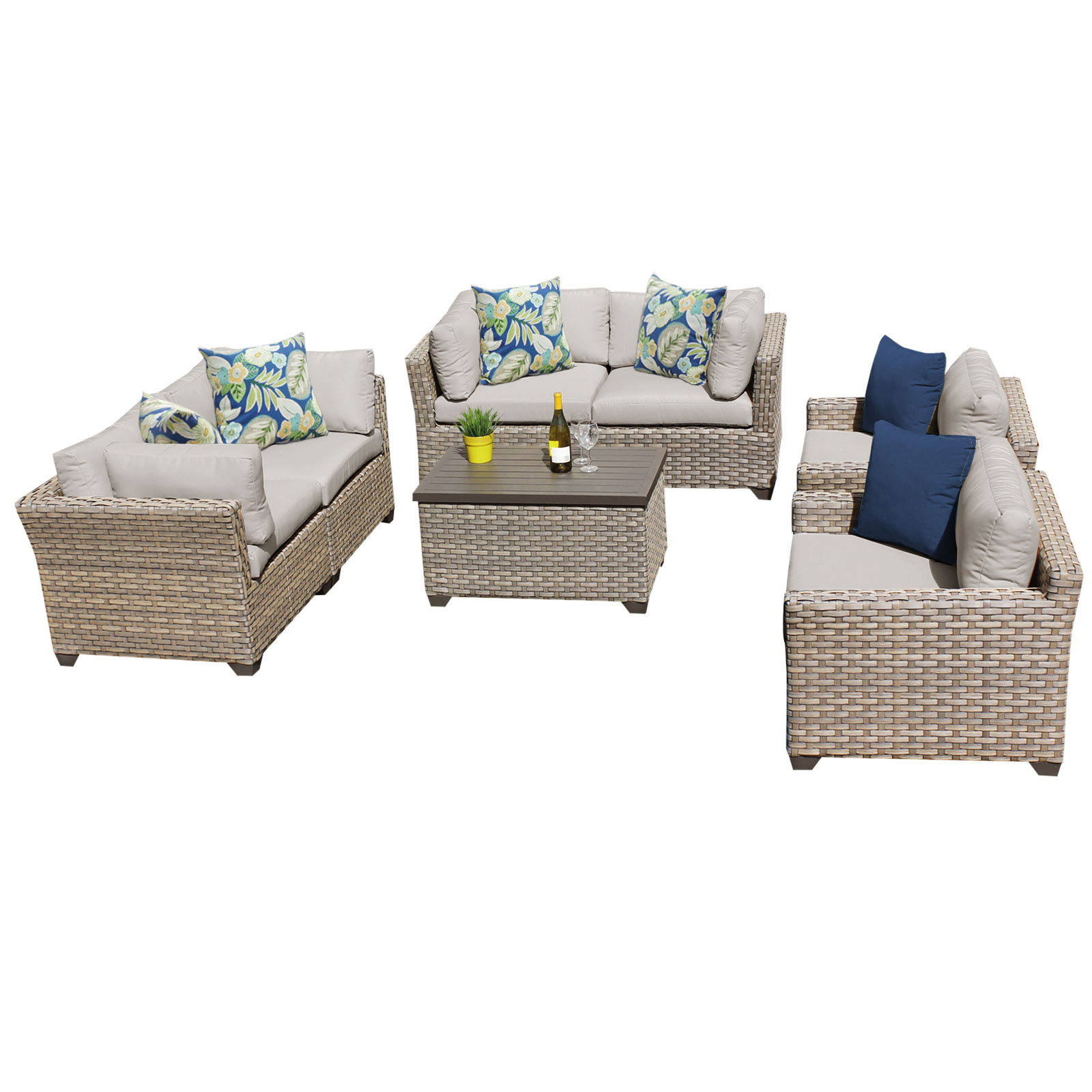 Hampton 7 Piece Outdoor Wicker Patio Furniture Set 07c