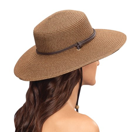 442DB01 Size 1 Dark Brown Wide Brim Braided -