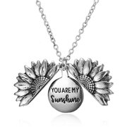 Rainbow Sunflower Engraved Necklace Locket Necklace
