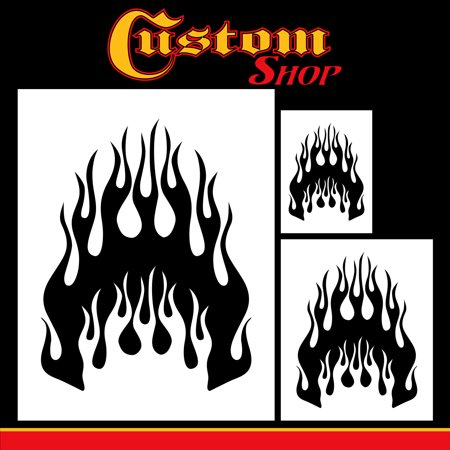 Airbrush Flame Licks Stencil Set (Flame Licks Design #1 in 3 Scale Sizes) - Laser Cut Reusable