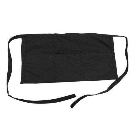 Opromo 3 Deep Pockets Waist Apron, Restaurant Half Aprons For Waiter, Chef, Baker, Servers, Polyester Cotton, 24 x 12 inches