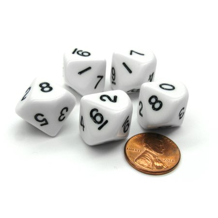 Koplow Games Set of 5 D10 10-Sided 16mm Opaque RPG Dice - White with Black Numbers #02629