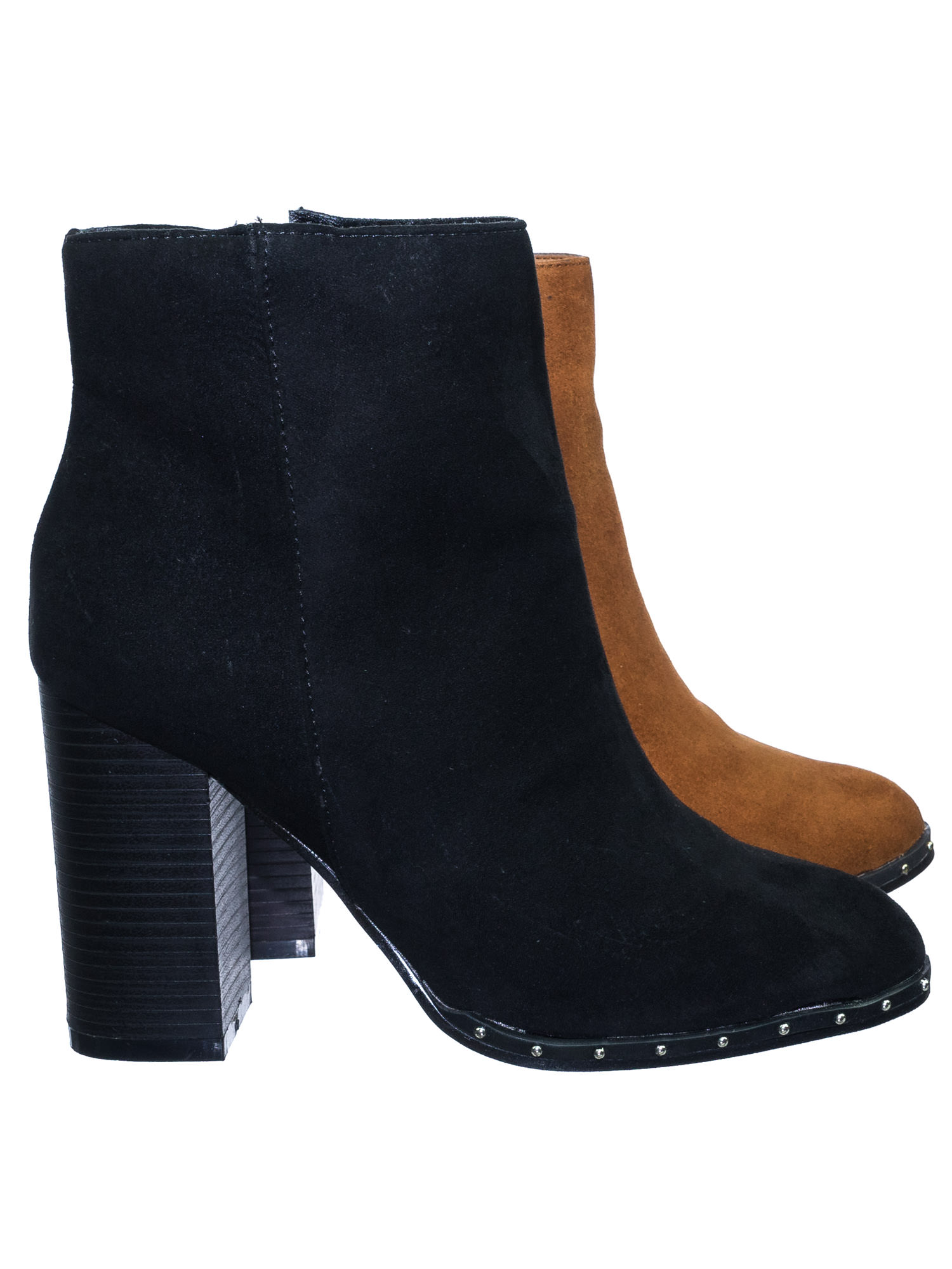 Upside33 by Bamboo, Industrial Chic Block Heel Metal Micro Stud Ankle Bootie Dress Boots