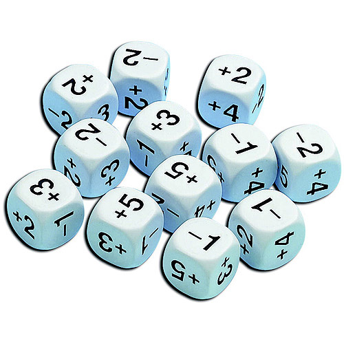 School Smart Positive and Negative Number Dice, Grades 4-8, Set of 12