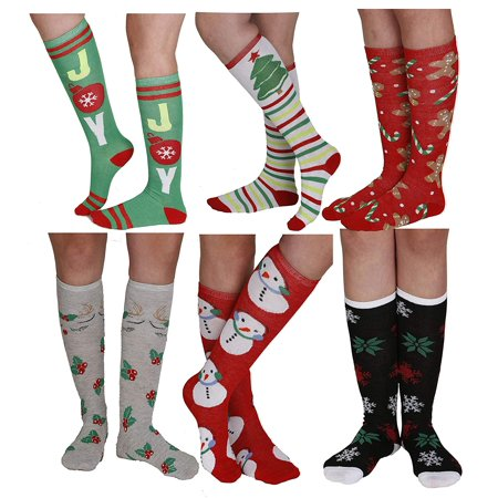 6 Pairs Christmas Holiday Knee High Socks,Assorted Colors & Designs Womens Size: 9-11
