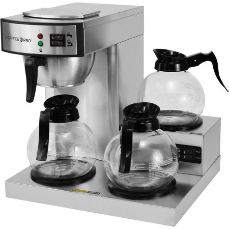 Coffee Pro 3-Burner Commercial Coffee Brewer, Silver Coffee Pro Two Burner