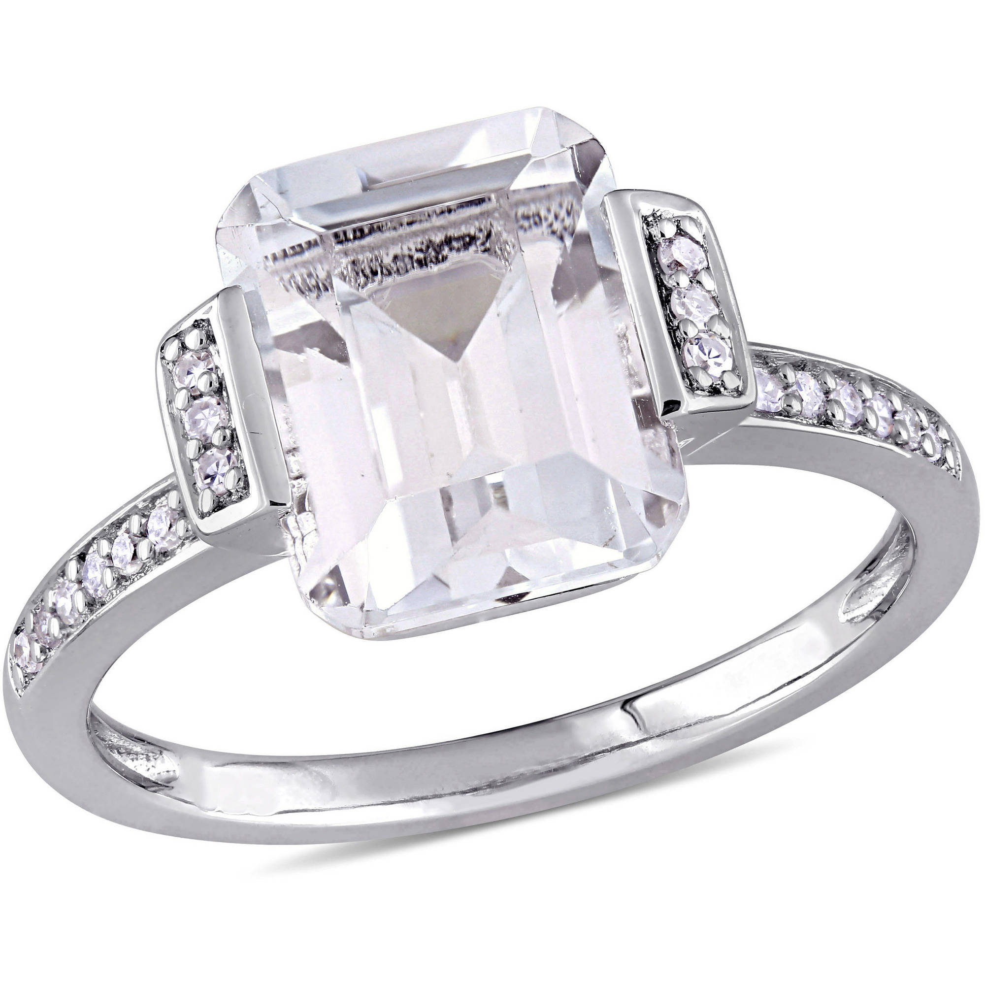 Miabella 4 Carat T.G.W. Emerald-Cut White Topaz and Diamond-Accent Sterling Silver Vintage Halo Engagement Ring by Miabella