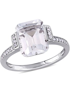 4 Carat T.G.W. Emerald-Cut White Topaz and Diamond-Accent Sterling Silver Vintage Halo Engagement Ring