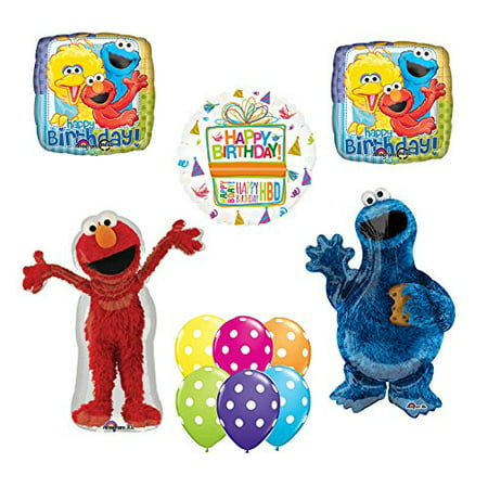 Sesame Street Elmo and Cookie Monster Party Supplies and Balloon Bouquet Decorations