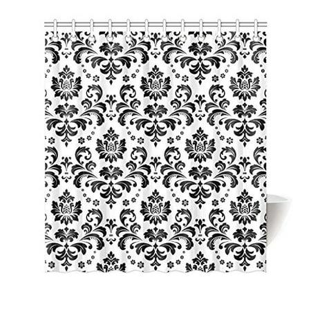 MKHERT Elegant Damask Black and White Floral House Decor Shower Curtain for Bathroom Decorative Bathroom Shower Curtain Set 66x72 inch](Black And White Damask)
