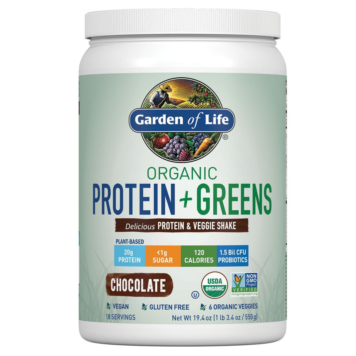 Garden of Life Organic Protein & Greens Powder, Chocolate, 1.2 Lb