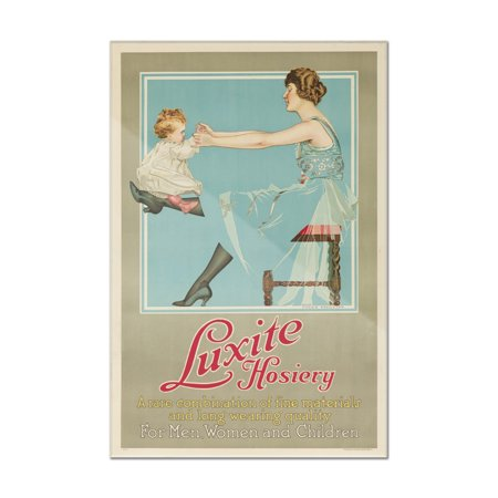 Luxite Hosiery (mom & toddler) Vintage Poster (artist: Phillips) USA c. 1919 (8x12 Acrylic Wall Art Gallery Quality)