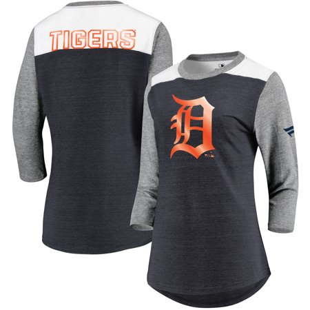 Detroit Tigers Fanatics Branded Women's Iconic Tri-Blend 3/4 Sleeve T-Shirt - Navy/Gray Detroit Tigers World Series