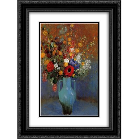Odilon Redon 2X Matted 20X24 Black Ornate Framed Art Print Bouquet Of Wild Flowers