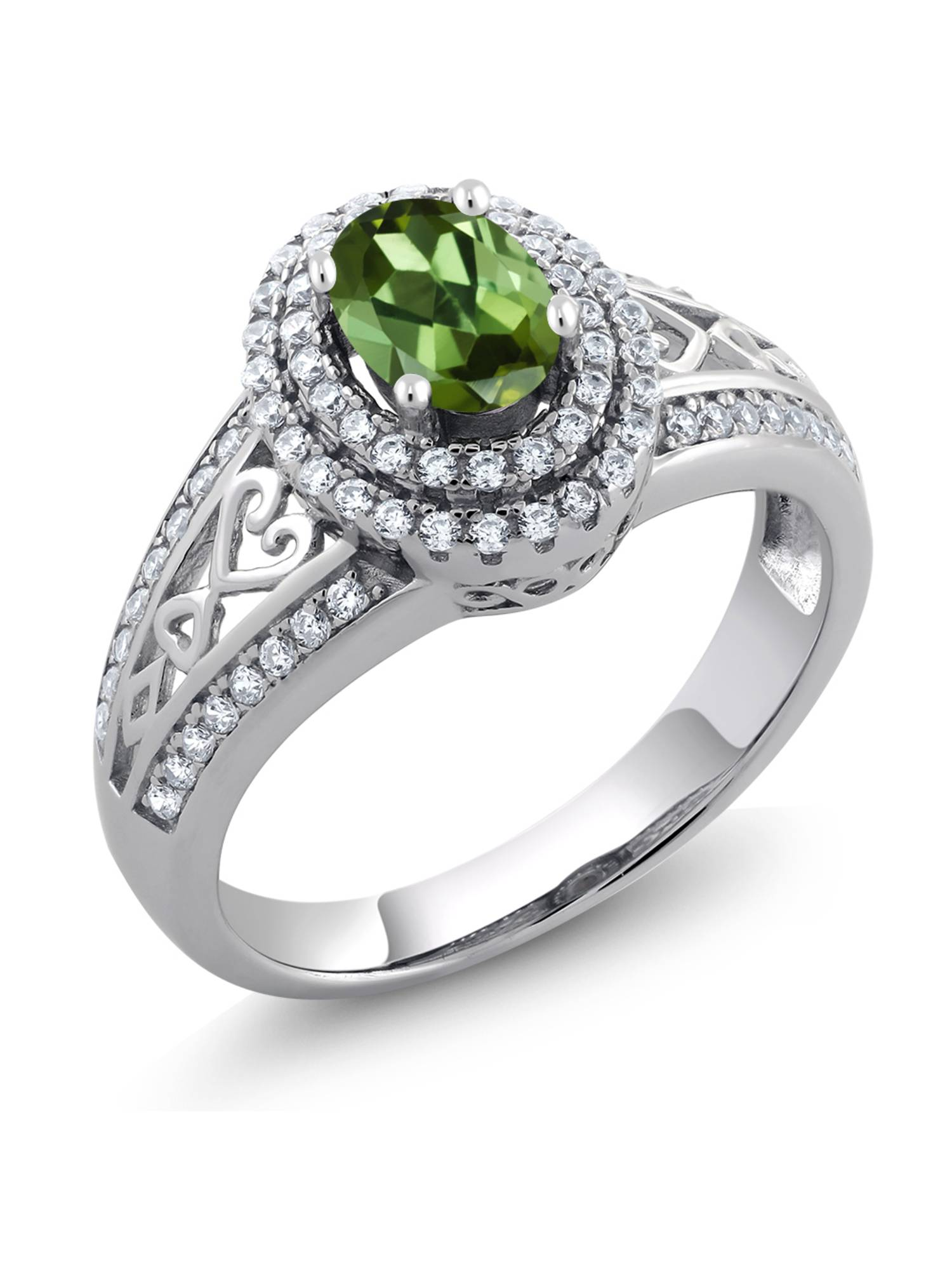 1.36 Ct Oval Green Tourmaline 925 Sterling Silver Ring by