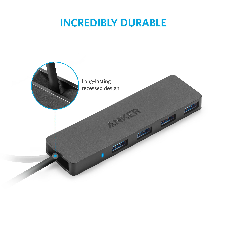 Anker Ultra Slim 4 Port Usb 3 0 Data Hub Walmart Com