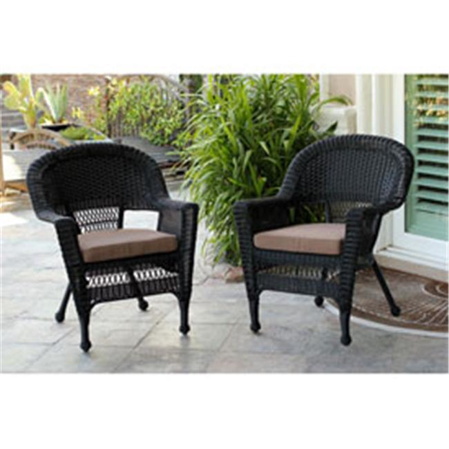 Jeco W00207-C-2-FS007-CS Black Wicker Chair with Brown Cushion - Set of 2
