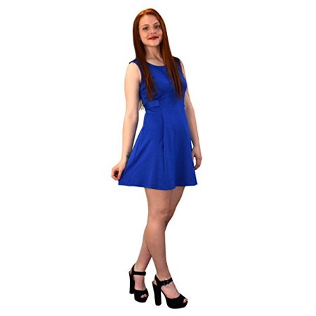 Peach Couture Womens Solid Color Sleeveless Princess Seam A line Dress Blue - Princess Peach Dress