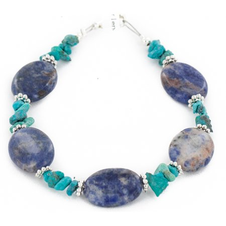 80 Retail Tag Authentic Made by Charlene Little Navajo .925 Sterling Silver Natural Turquoise and Lapis Native American