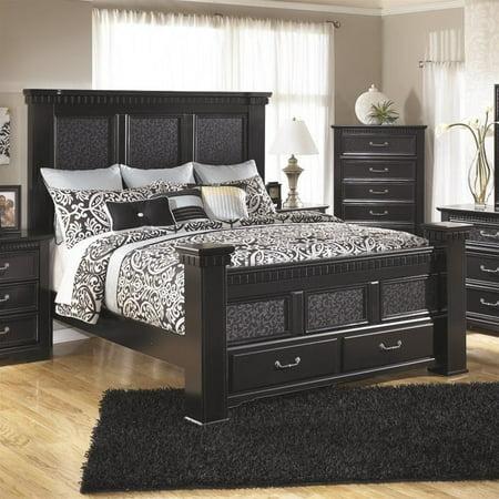 Ashley Cavallino Wood King Mansion Drawer Bed in Black
