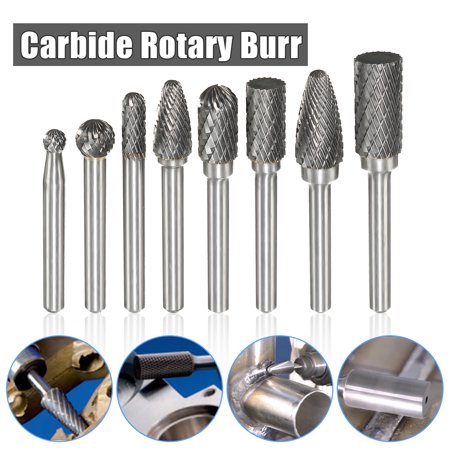 8Pcs Double Cut Carbide Rotary Burr 1/4
