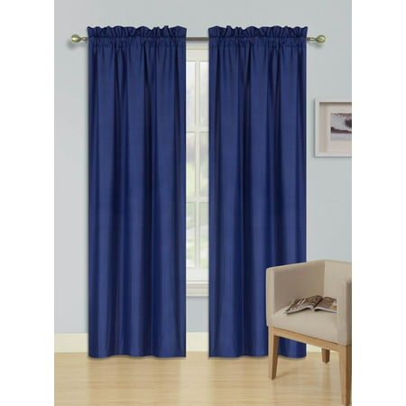 2 PANELS NAVY BLUE  SOLID BLACKOUT THERMAL ROD POCKET FOAM LINED WINDOW CURTAIN DRAPE R64 63 LENGTH
