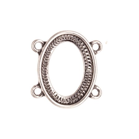 link findinGram/Connector, Antique-Silver Plated Oval 2x2 Loop Bezel Cup Setting 18.8x20.27mm Fits 17x12mm - Oval Cabochon Setting