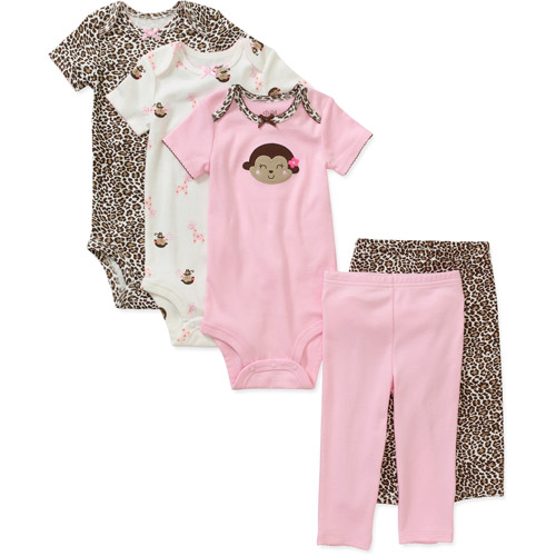 Child of Mine by Carters Newborn Girls' 5 Piece Essential Creeper and Pant Set