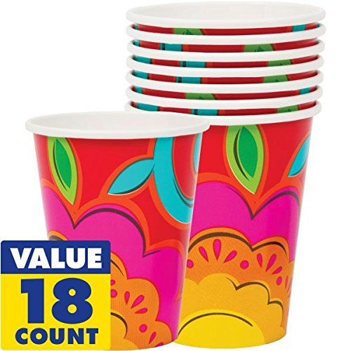 Amscan Fiesta Caliente Cinco de Mayo Party Paper Cups (18 Piece), Multi Color, 8 x 3""