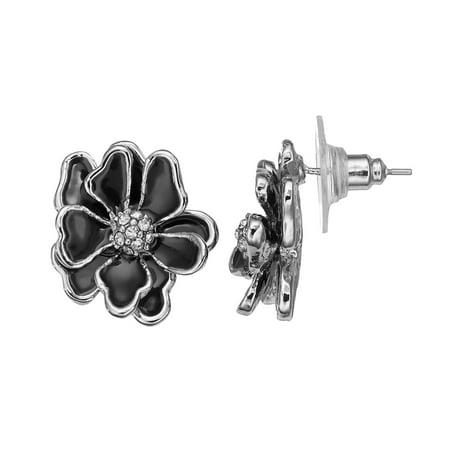 Black Flower Stud Earrings