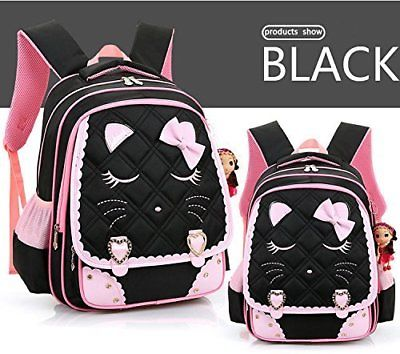 Efree Cute Cat Face Bow Diamond Bling Waterproof Pink School Backpack Girls Book