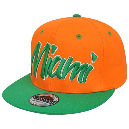 Miami Florida Italic Script Flat Bill Adjustable Snapback Orange Green Hat - Halloween Parties Miami Florida