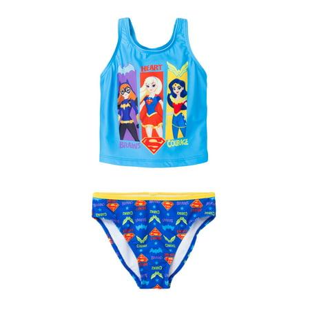 598df8e9a92ff DC - Girls Bathing Suit Supergirl Batgirl Wonder Woman 2-Piece Swimsuit -  Walmart.com