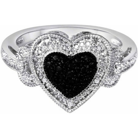 Sterling Silver Diamond Accent Fashion Heart Ring