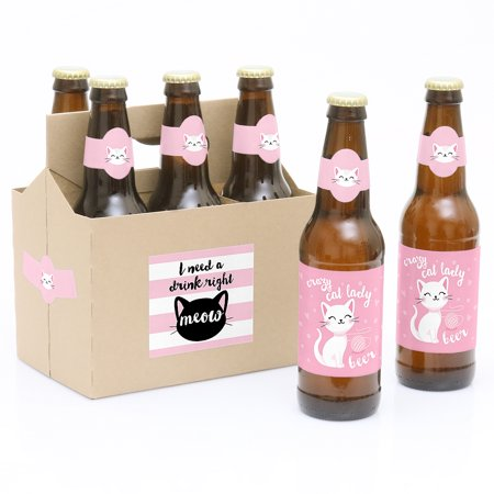 Purr-fect Kitty Cat - Kitten Meow Birthday Party Decorations for Women and Men - 6 Beer Bottle Label Stickers and 1](Kitty Cat Party Supplies)