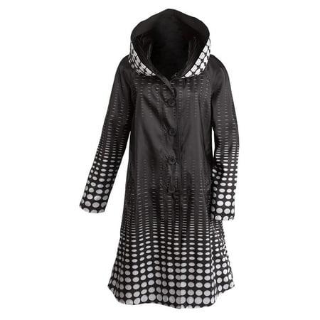 Women's Reversible Illusion Black And White Hooded Long Raincoat