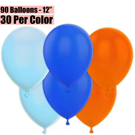 Birthday Jpg (12 Inch Party Balloons, 90 Count - Baby Blue + Royal Blue + Orange - 30 Per Color. Helium Quality Bulk Latex Balloons In 3 Assorted Colors - For Birthdays,)