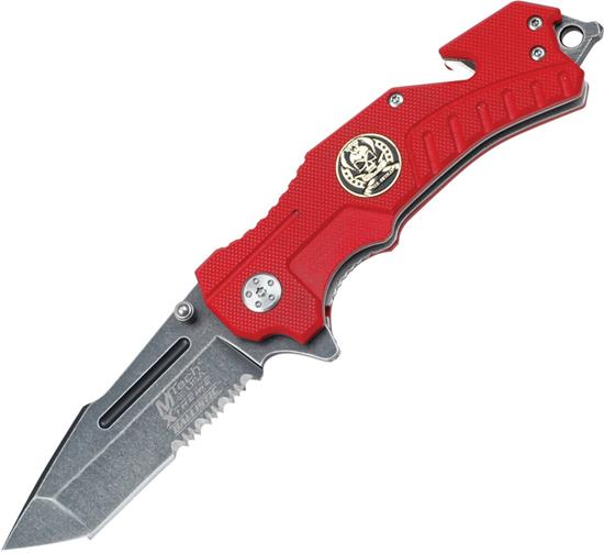 Mtech Rescue Linerlock A/O Red, Knife MX-A810RD Multi-Colored