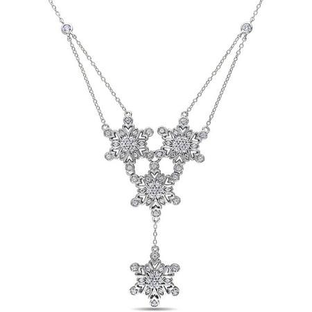 Miabella 1-1/3 Carat T.G.W. Created White Sapphire Sterling Silver Multi-Star Drop Necklace, 18
