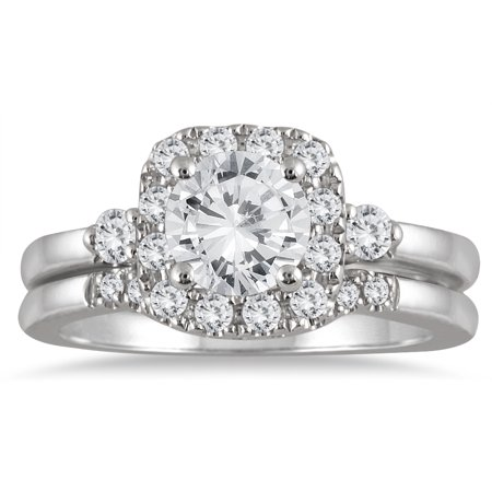 AGS Certified 1 3/5 Carat TW Diamond Halo Engagement Bridal Set in 14K White Gold (J-K Color, I2-I3 Clarity)