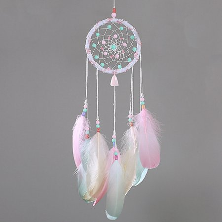 Cap Decorations For Graduation (KABOER Fantasy Cute Small Fresh Colorful Feathers Dream Catcher With Colorful Beads Wind Chime Girl Bedroom Living Room Decoration Car Pendant Graduation)